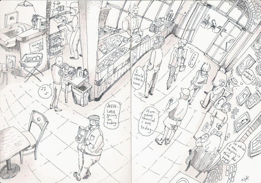 Sketch from the cafe downstairs